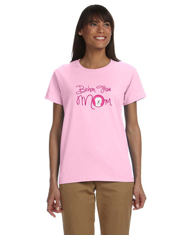Buy this Pink Bichon Frise Mom T-shirt Ladies Cut Short Sleeve Large SC9135PK-978-L