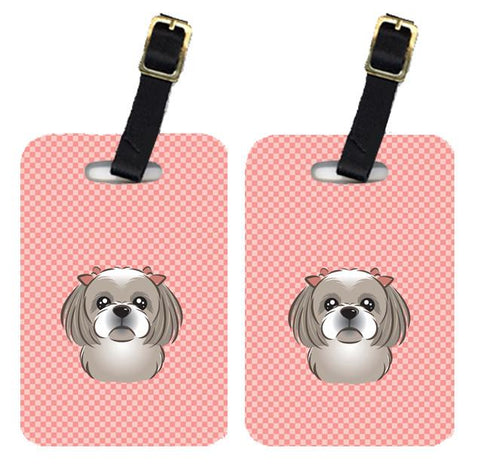 Buy this Pair of Checkerboard Pink Gray Silver Shih Tzu Luggage Tags BB1250BT