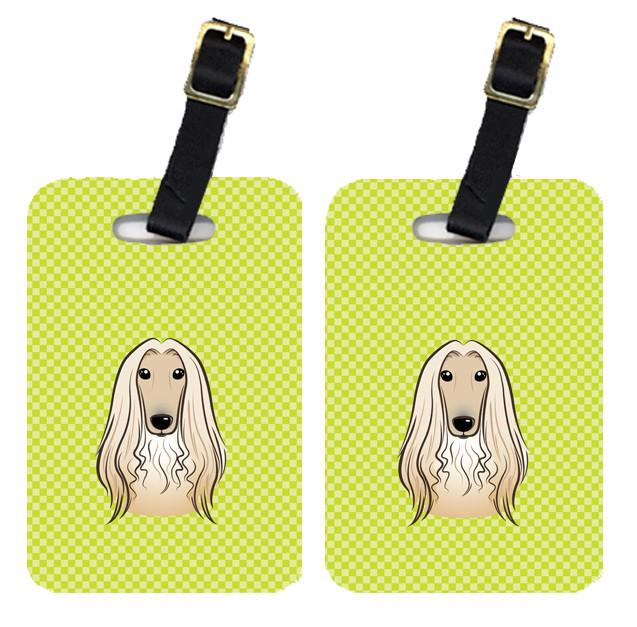 Pair of Checkerboard Lime Green Afghan Hound Luggage Tags BB1306BT by Caroline's Treasures