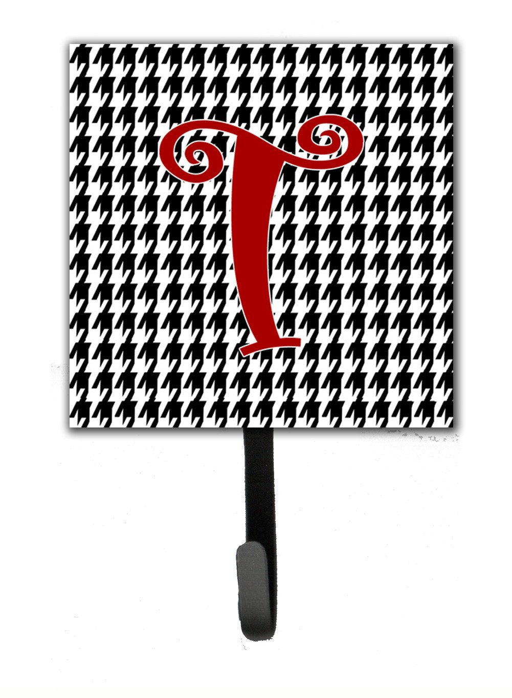 Buy this Letter T Initial Monogram - Houndstooth Black Leash Holder or Key Hook