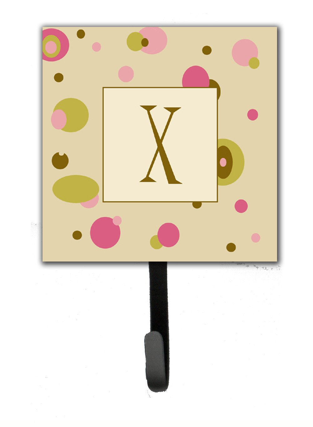 Buy this Letter X Initial Monogram - Tan Dots Leash Holder or Key Hook