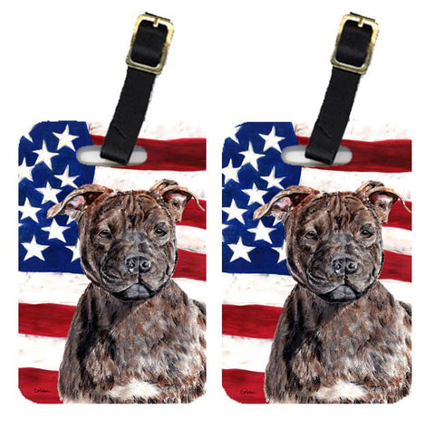 Buy this Pair of Staffordshire Bull Terrier Staffie with American Flag USA Luggage Tags