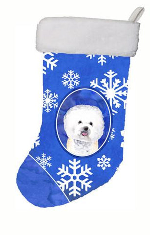 Buy this Bichon Frise Winter Snowflakes Christmas Stocking SC9362