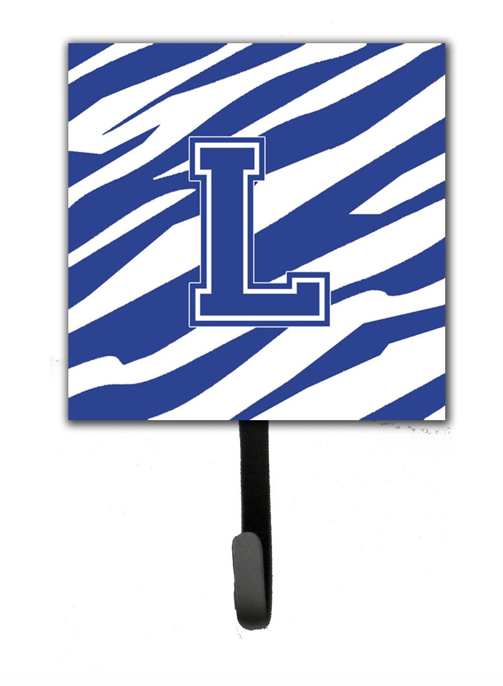 Letter L Initial Tiger Stripe Blue and White Leash Holder or Key Hook by Caroline's Treasures