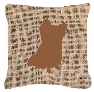 Chihuahua Burlap and Brown   Canvas Fabric Decorative Pillow BB1115 - the-store.com