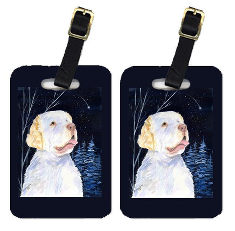 Buy this Starry Night Clumber Spaniel Luggage Tags Pair of 2