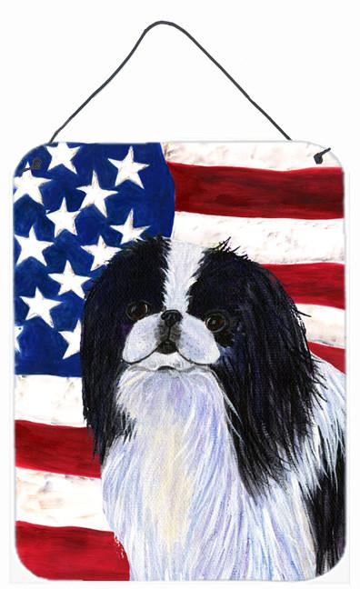 USA American Flag with Japanese Chin Wall or Door Hanging Prints by Caroline's Treasures