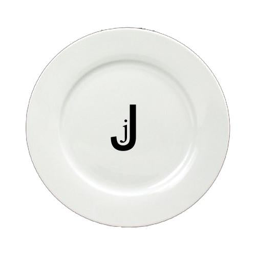 Buy this Letter J Initial Monogram Modern Round Ceramic White Salad Plate CJ1056-J-DPW