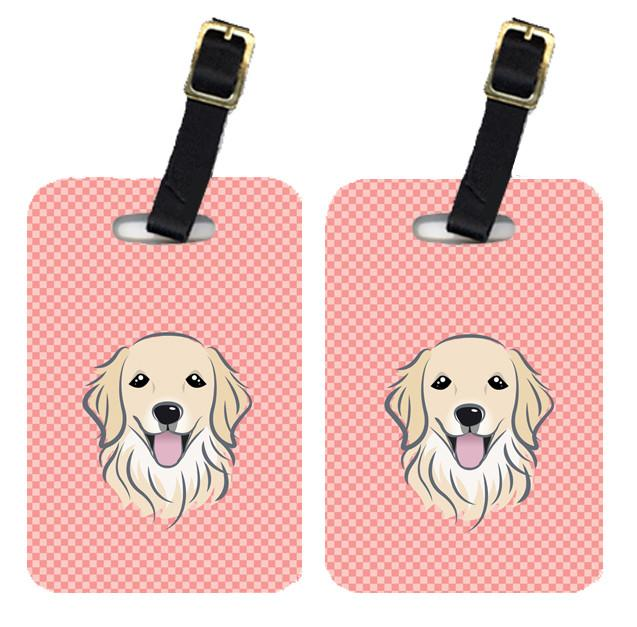 Pair of Checkerboard Pink Golden Retriever Luggage Tags BB1205BT by Caroline's Treasures