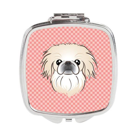 Buy this Checkerboard Pink Pekingese Compact Mirror BB1221SCM