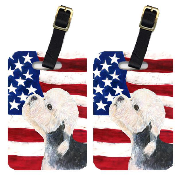 Buy this Pair of USA American Flag with Dandie Dinmont Terrier Luggage Tags SS4030BT