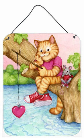 Buy this Valentine Cat Fishing For Love Wall or Door Hanging Prints CDCO0320DS1216