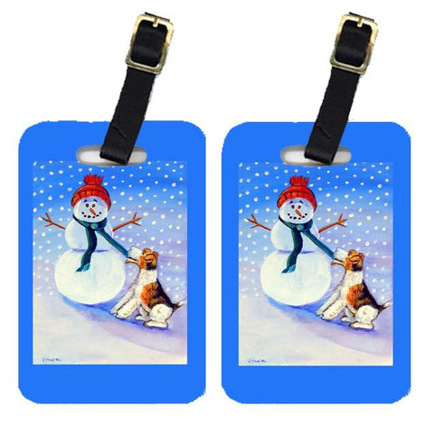 Buy this Snowman with  Fox Terrier Luggage Tags Pair of 2
