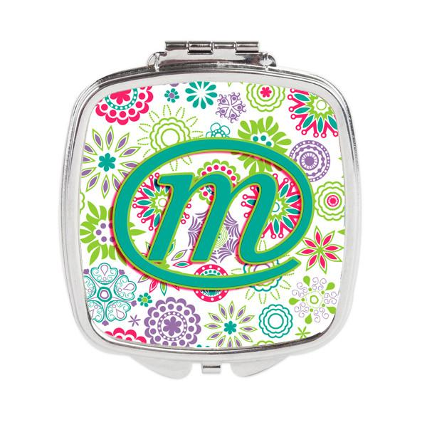 Letter M Flowers Pink Teal Green Initial Compact Mirror CJ2011-MSCM by Caroline's Treasures