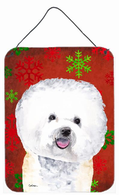 Buy this Bichon Frise Red Snowflakes Holiday Christmas Metal Wall or Door Hanging Prints