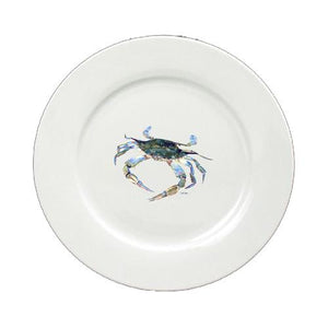 Buy this Blue Crab Looking at U Round Ceramic White Salad Plate 8657-DPW