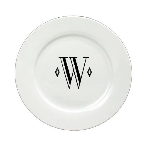 Letter W Initial Monogram Retro Ceramic White Dinner Plate CJ1058-W-DPW-11 by Caroline's Treasures