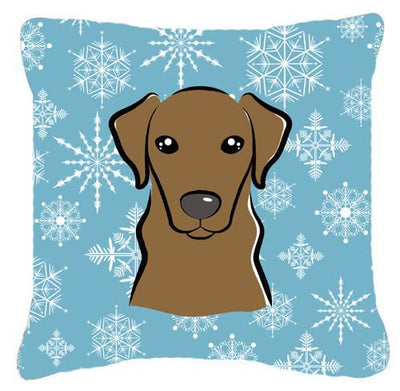 Buy this Snowflake Chocolate Labrador Fabric Decorative Pillow BB1668PW1414