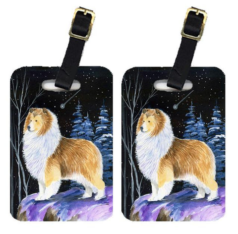 Buy this Starry Night Sheltie Luggage Tags Pair of 2