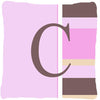 Letter C Initial Monogram - Pink Stripes Decorative   Canvas Fabric Pillow - the-store.com