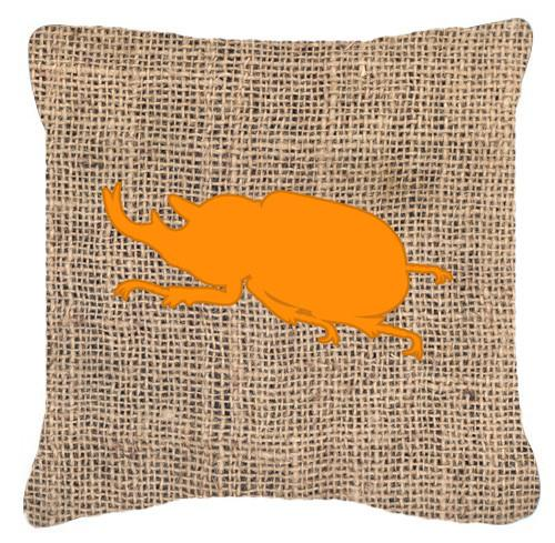 Beetle Burlap and Orange   Canvas Fabric Decorative Pillow BB1064 by Caroline's Treasures