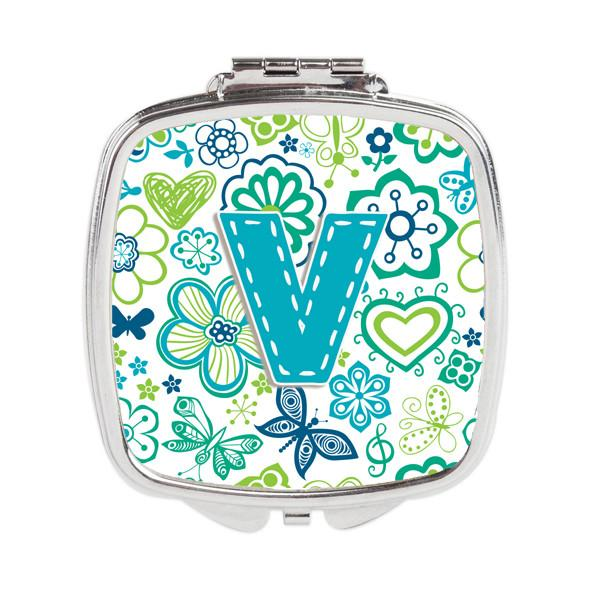 Letter V Flowers and Butterflies Teal Blue Compact Mirror CJ2006-VSCM by Caroline's Treasures