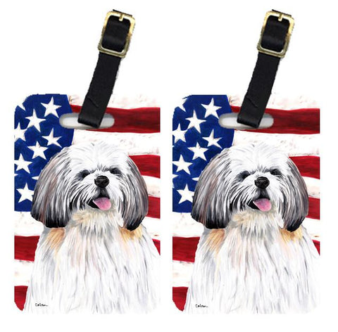 Buy this Pair of USA American Flag with Shih Tzu Luggage Tags SC9028BT