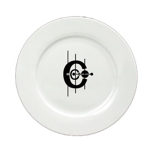 Buy this Letter C Initial Monogram Modern Round Ceramic White Salad Plate CJ1056-C-DPW