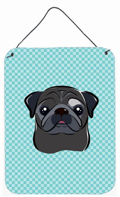 Checkerboard Blue Black Pug Wall or Door Hanging Prints BB1201DS1216 by Caroline's Treasures
