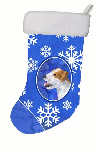 Jack Russell Terrier Winter Snowflakes Christmas Stocking SS4642 by Caroline's Treasures