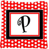 Buy this Letter P Initial Monogram Red Black Polka Dots Decorative  Canvas Fabric Pillow