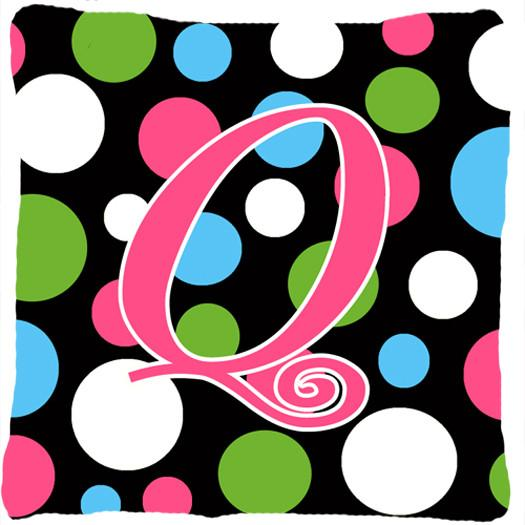Buy this Monogram Initial Q Polkadots and Pink Decorative   Canvas Fabric Pillow CJ1038