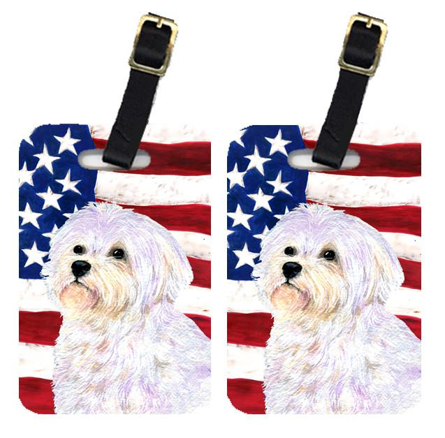 Buy this Pair of USA American Flag with Maltese Luggage Tags SS4043BT