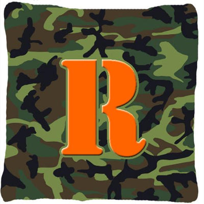 Buy this Monogram Initial R Camo Green Decorative   Canvas Fabric Pillow CJ1030