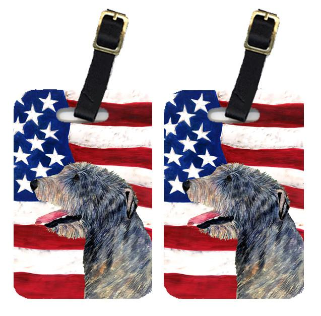 Buy this Pair of USA American Flag with Irish Wolfhound Luggage Tags SS4033BT