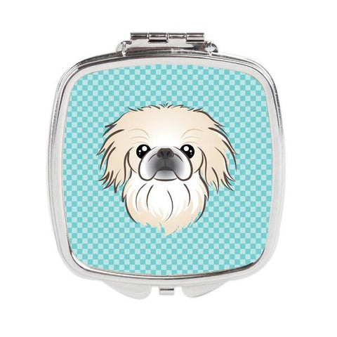 Buy this Checkerboard Blue Pekingese Compact Mirror BB1159SCM