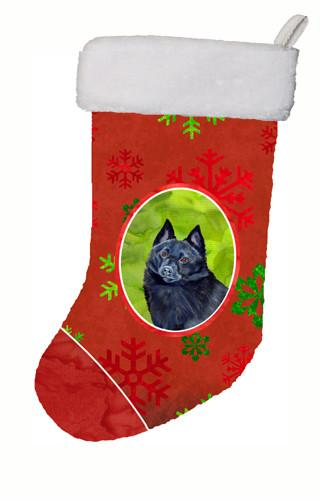 Buy this Schipperke Red and Green Snowflakes Holiday Christmas Christmas Stocking LH9339