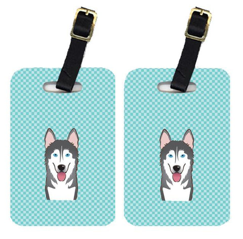 Buy this Pair of Checkerboard Blue Alaskan Malamute Luggage Tags BB1156BT