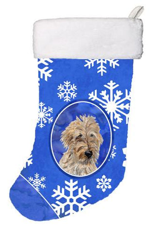 Buy this Golden Doodle 2 Winter Snowflakes Christmas Stocking SC9787-CS