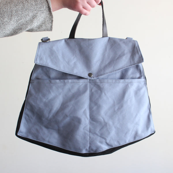 Handmade, waxed cotton handbag
