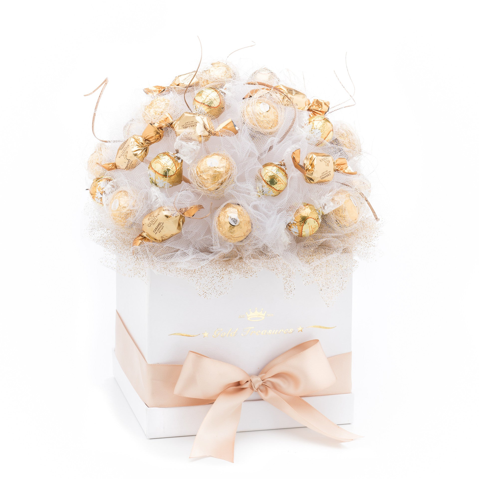 Bright Deluxe Ferrero Rocher, Lindt & Godiva Chocolate Bouquet ...