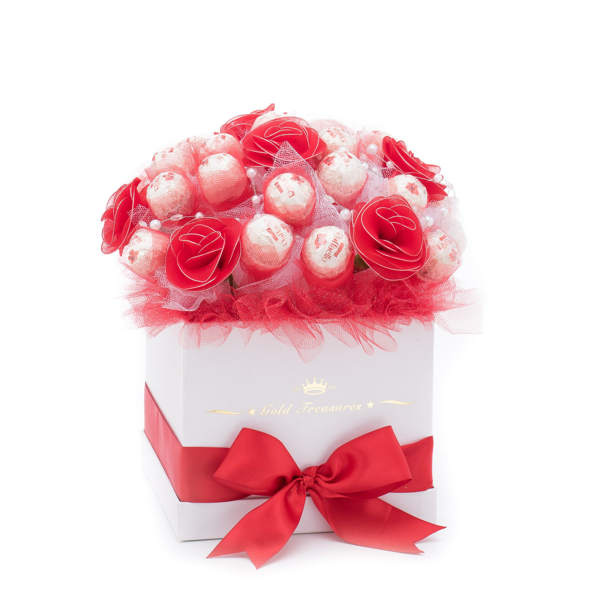 Red-Rose Chocolate Edible Bloom with 25 Raffaello Chocolates
