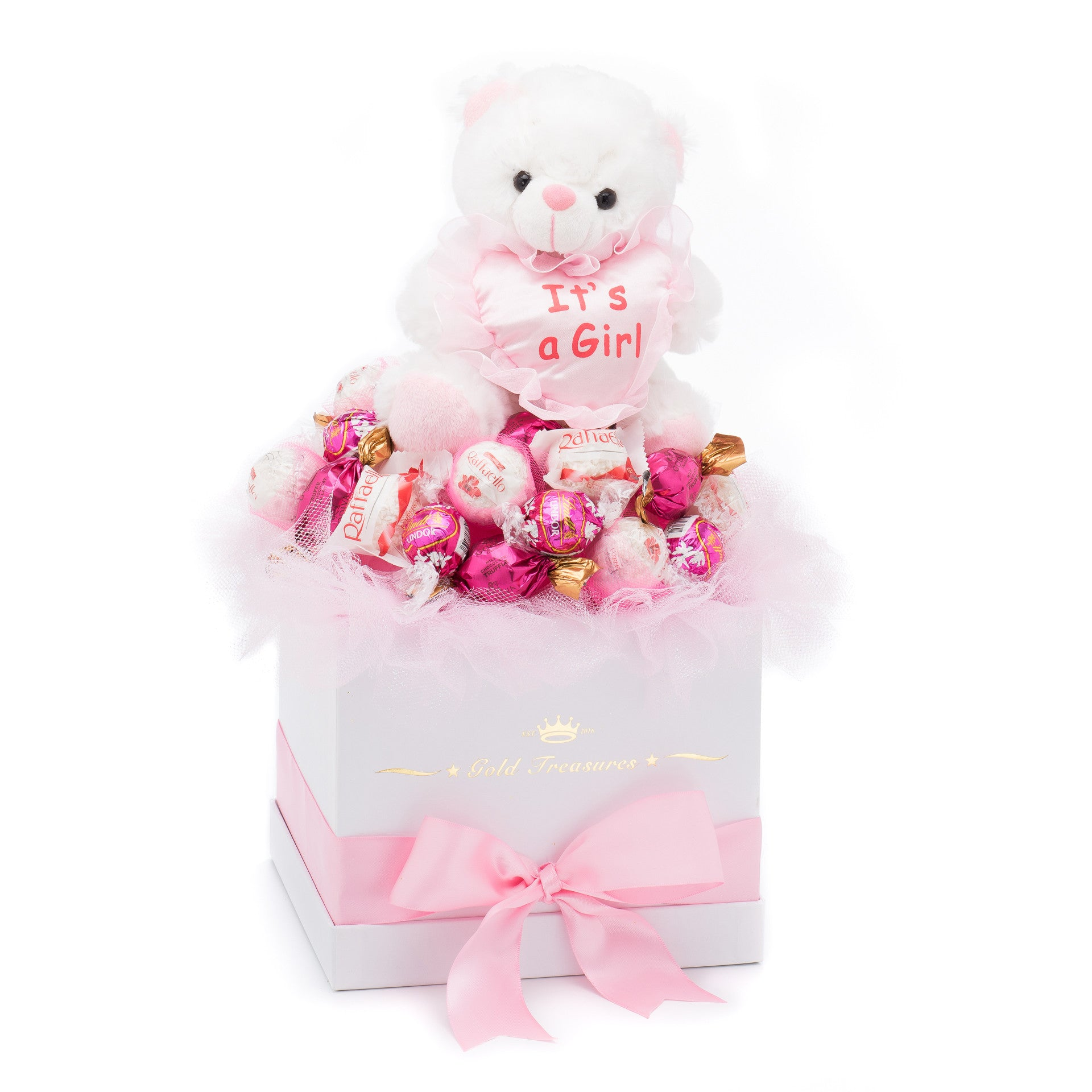 It's A Girl Chocolate Gift Basket For Newborn Baby