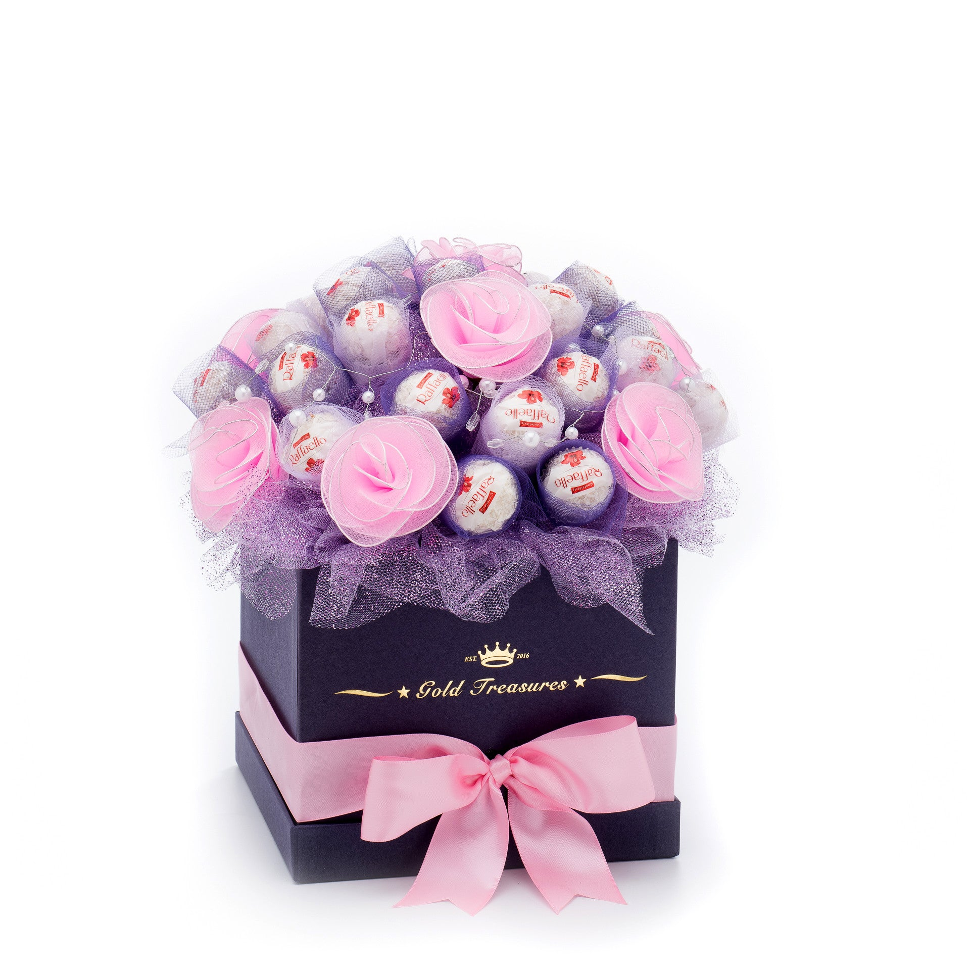 Pink-Rose Chocolate Bloom with 25 Raffaello Chocolates