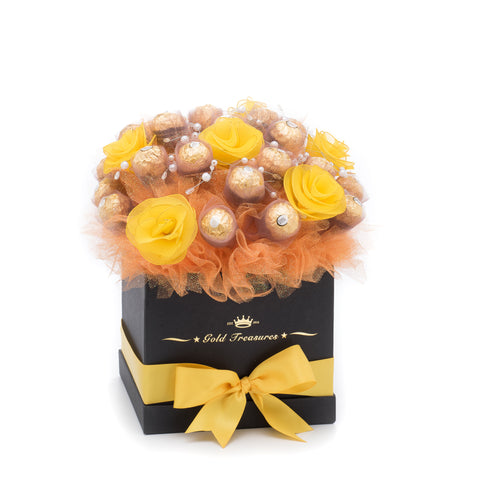 Yellow-Rose Chocolate Bloom with 25 Ferrero Rocher Chocolates