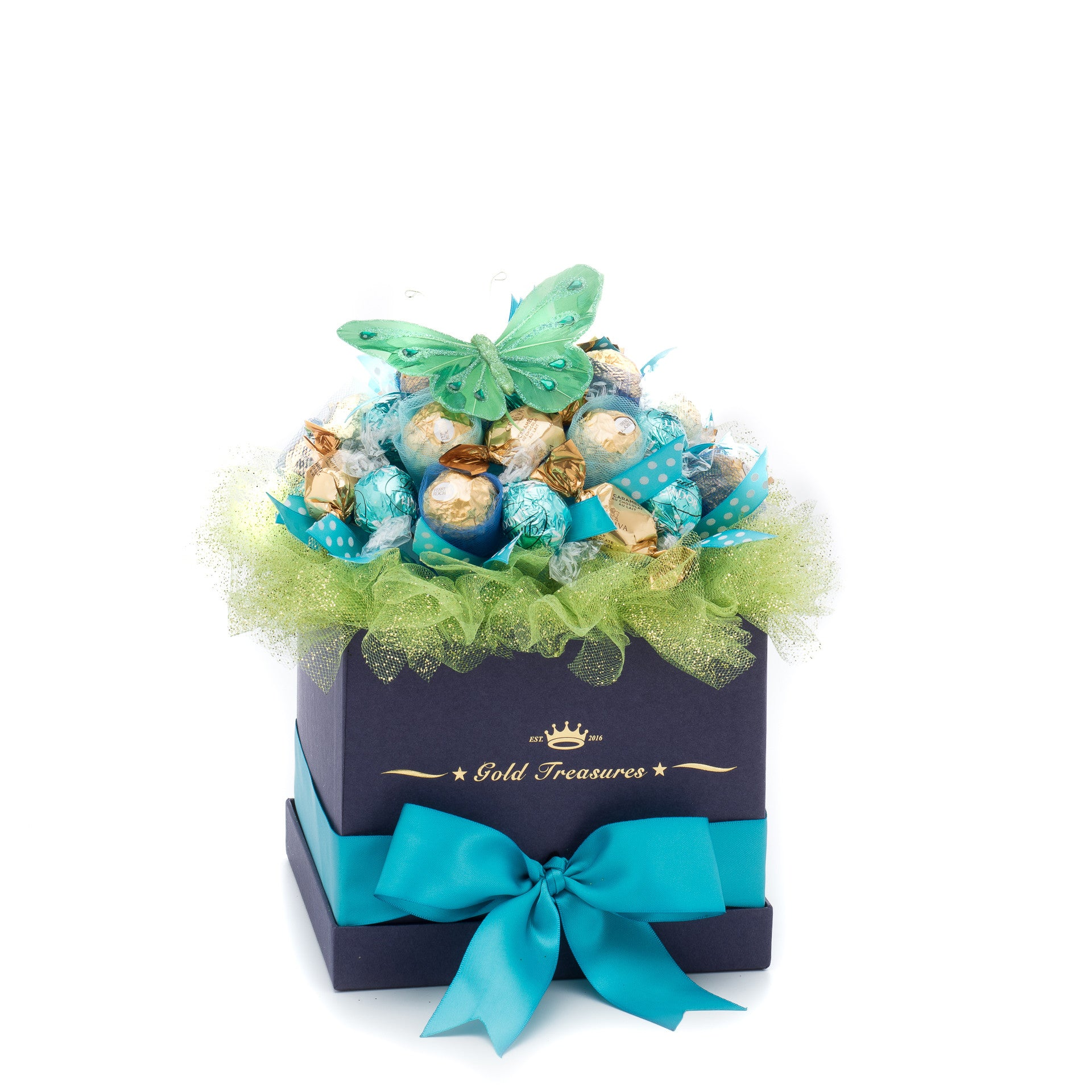 Blue Temptation Ferrero Rocher, Lindt & Godiva Chocolate Bouquet
