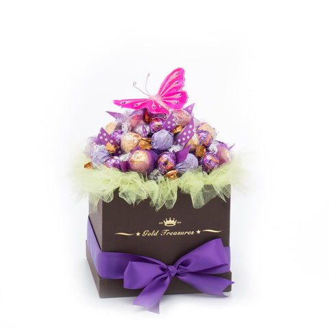 Purple Bliss: Chocolate Arrangement with Lindt, Godiva & Ferrero