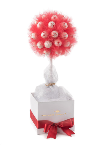 U can see chocolate edible tree in white box with red ribbon. The tree features 45 Raffaello chocolates surrounding red tulle.