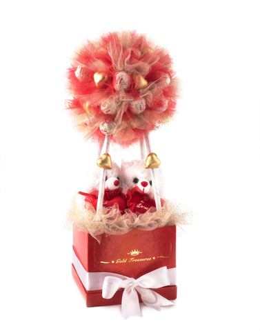 Enduring Love: 21 Raffaello Chocolates & 14 Gold Hearts Gift Basket