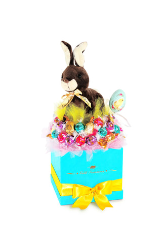 Easter Bunny Chocolate Gift Basket with Easter Bunny Toy